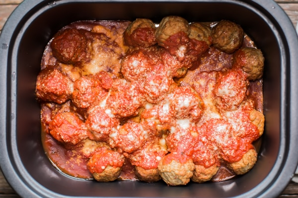 meatballs in marinara sauce in a slow cooker.