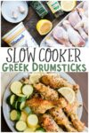 collage of greek drumsticks with text overlay for pinterest