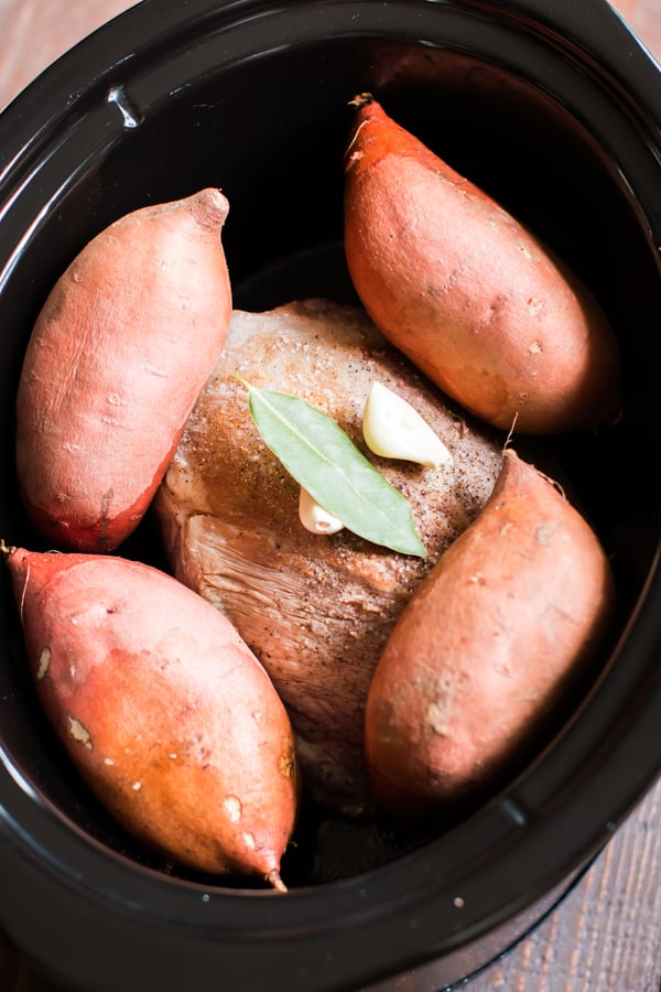 Slow Cooker Pulled Pork Stuffed Sweet Potatoes