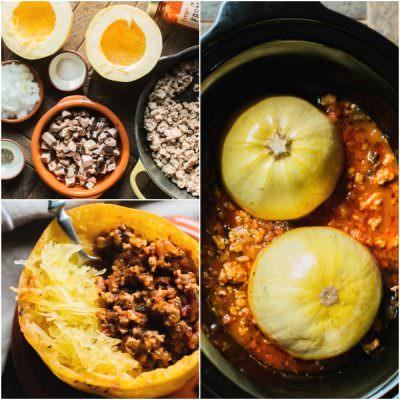 Slow Cooker Spaghetti Squash and Turkey Meat Sauce - The Magical Slow Cooker