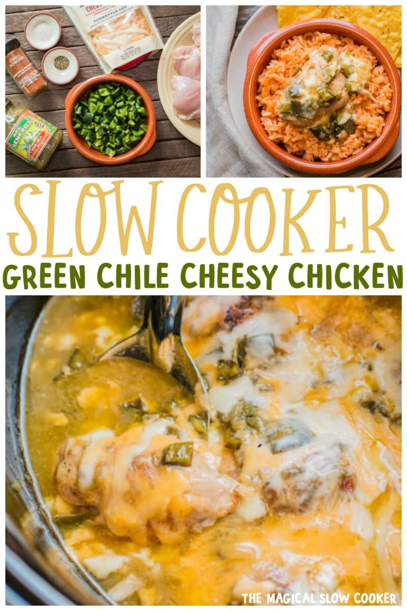 collage of green chile chicken images for pinterest