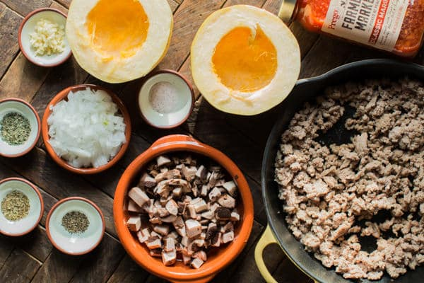 halved spaghetti squash, marinara sauce, turkey crumbles, onion, mushrooms and seasonings.