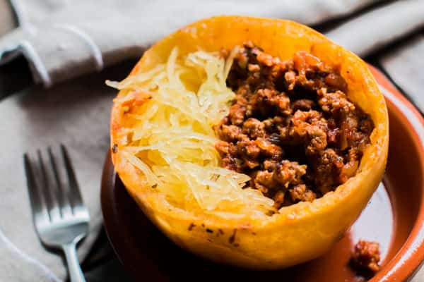 spaghetti squash filled with turkey meat sauce.