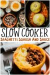 collage of images of spaghetti squash with text overlay for pinterest
