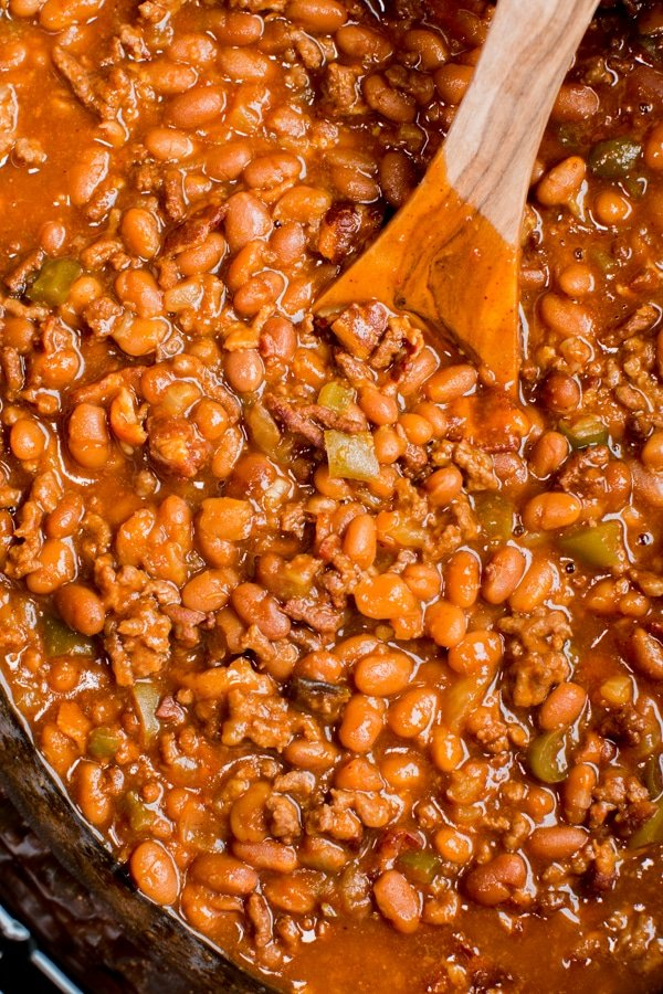close up of baked beans with ground beef