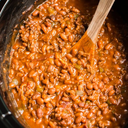 close up of land your man baked beans in slow cooker