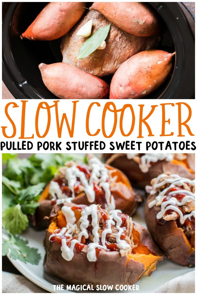 collage of pork stuffed sweet potatoes for pinterest