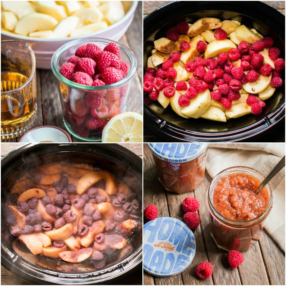 Slow Cooker Cinnamon Raspberry Applesauce