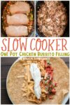collage of chicken burrito filling images with text overlay for pinterest
