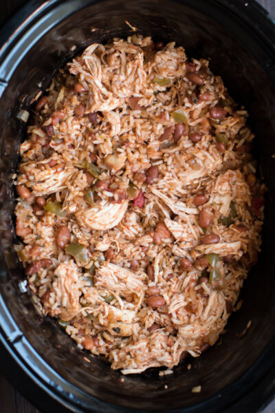 Slow Cooker One Pot Chicken Burrito Filling