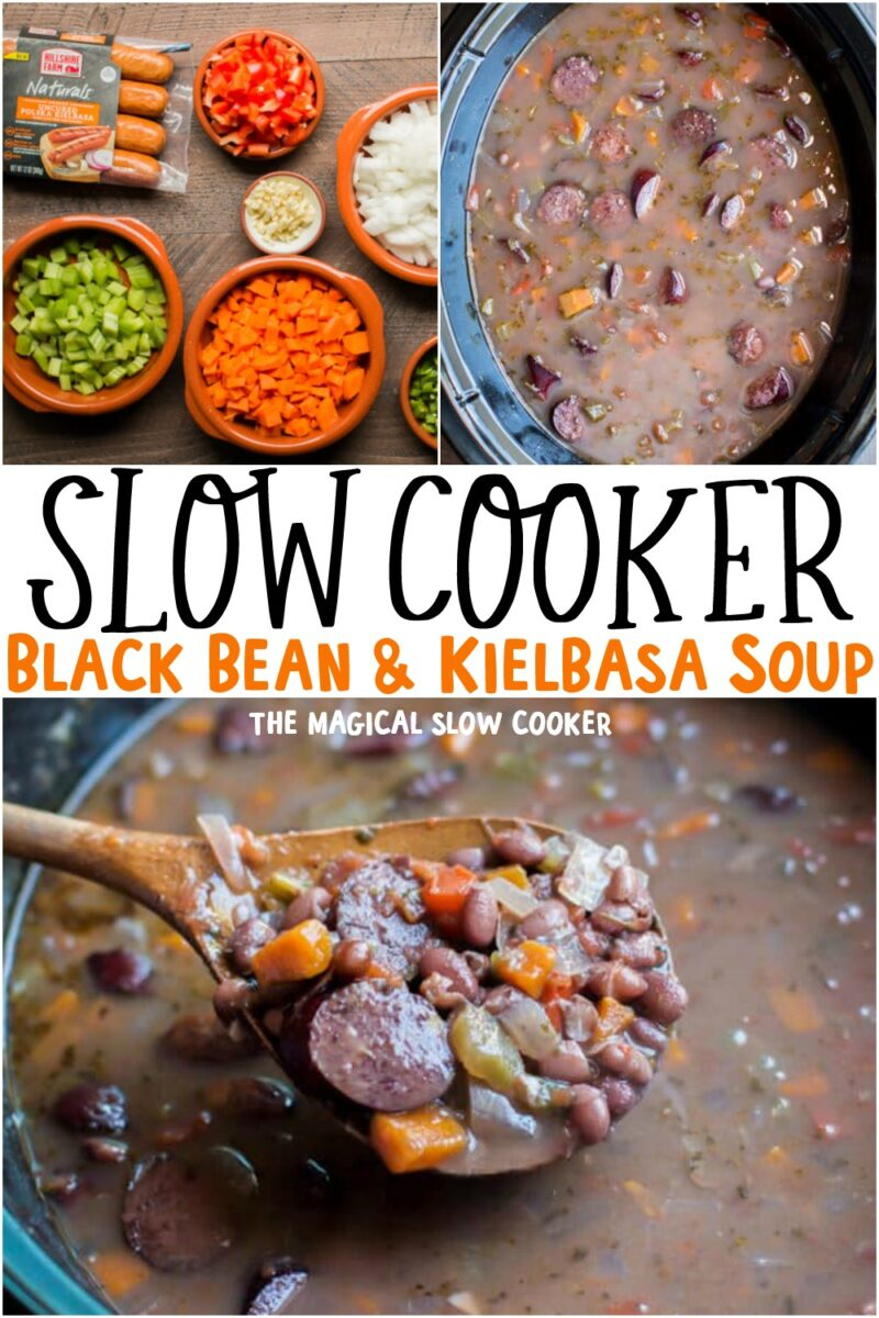 collage of kielbasa soup images with text overlay for pinterest
