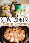 collage of campfire potatoes images with text overlay for pinterest