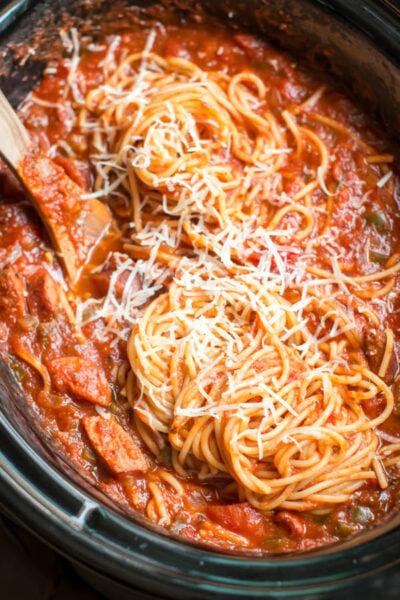 Slow Cooker Easy Spaghetti Dinner