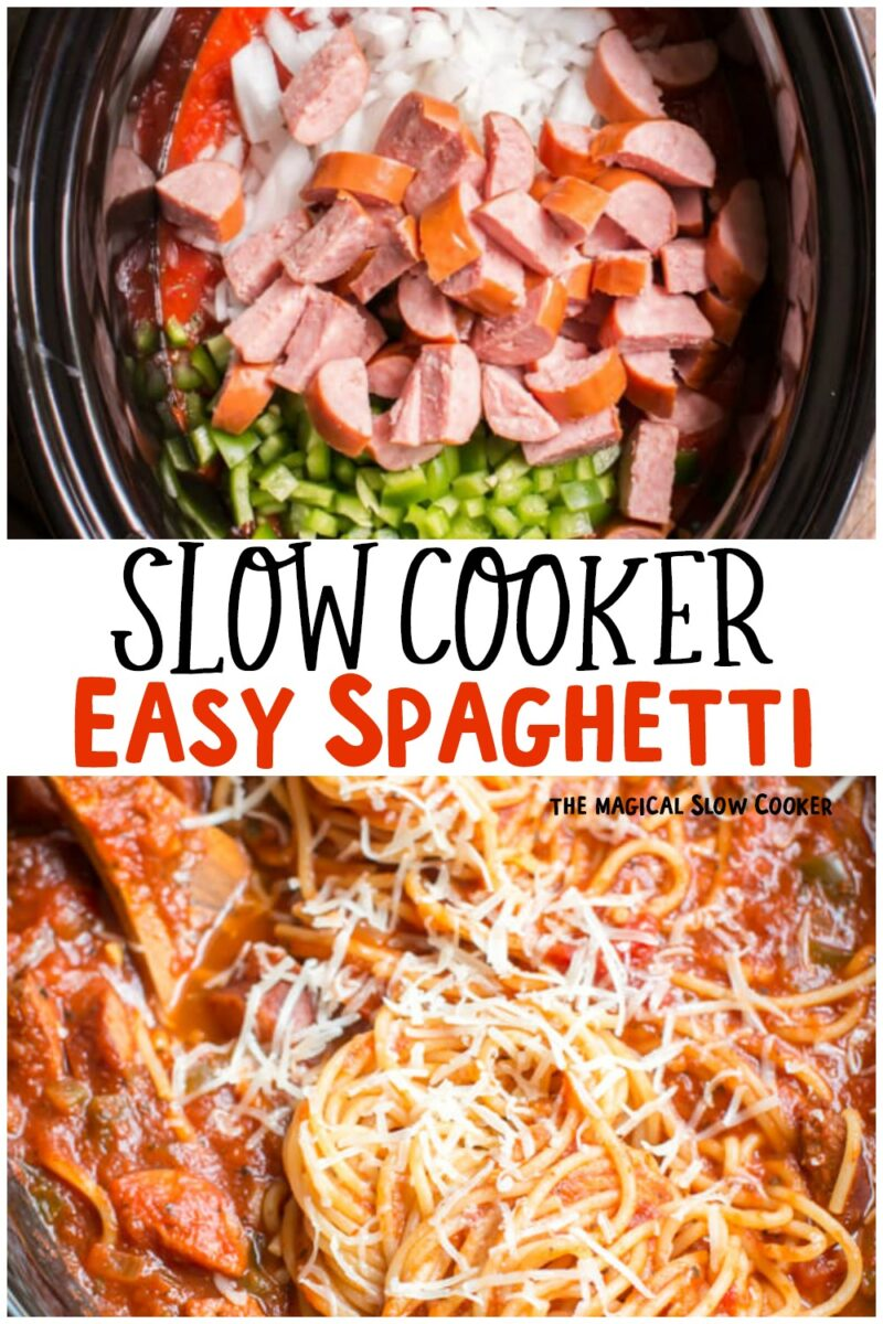 collage of easy spaghetti images with text overlay for pinterest