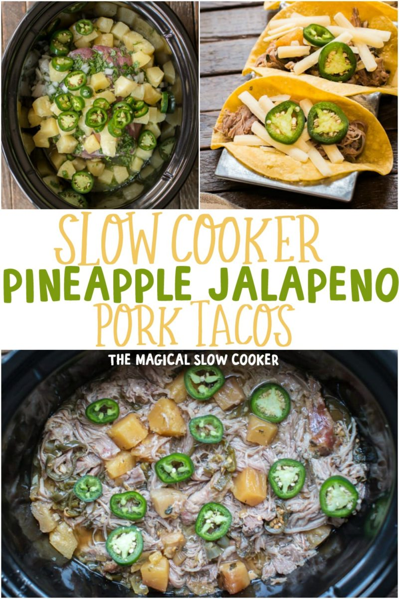 collage of pineapple jalapeno pork taco images for pinterest