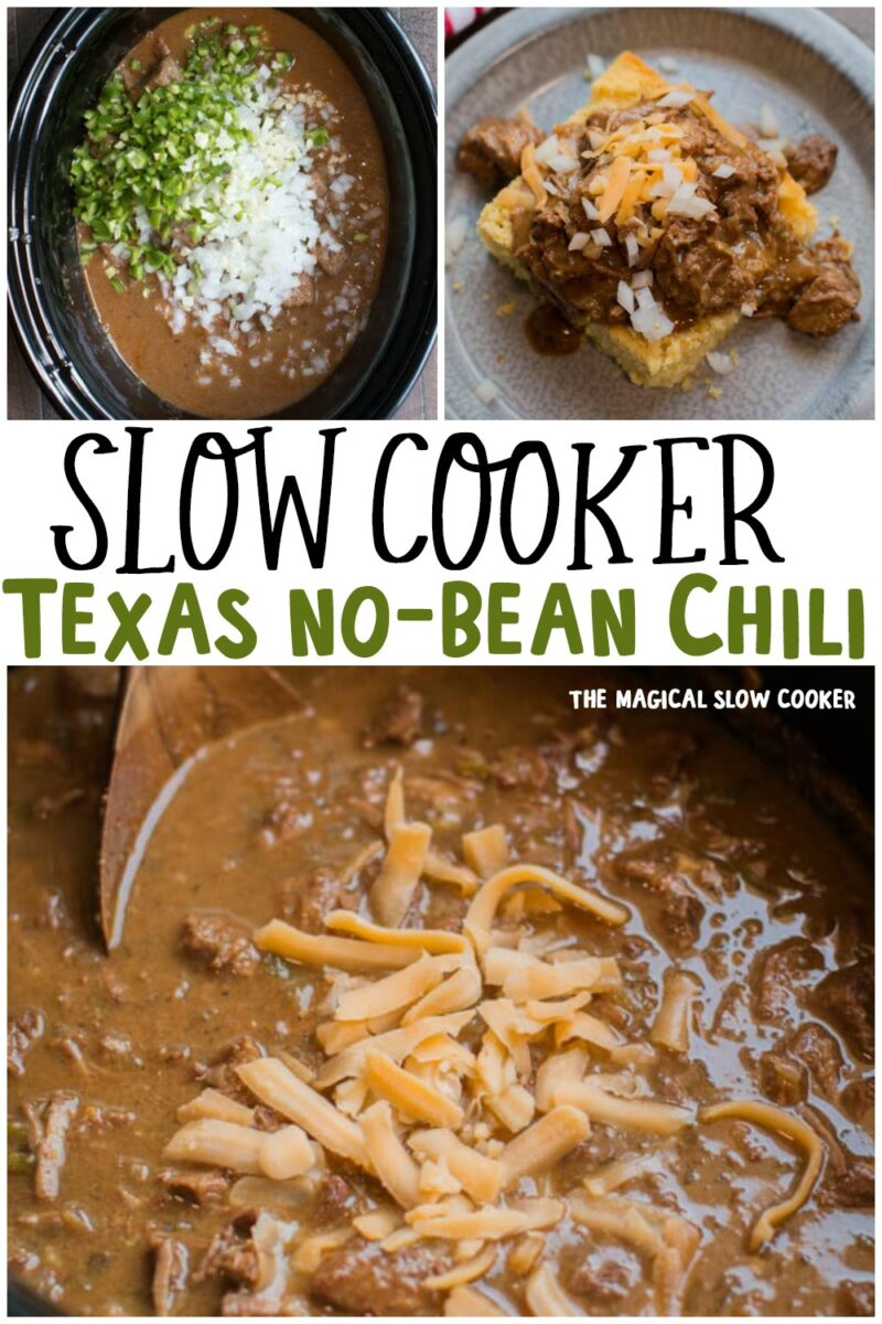 collage of no bean chili with text overlay for pinterest
