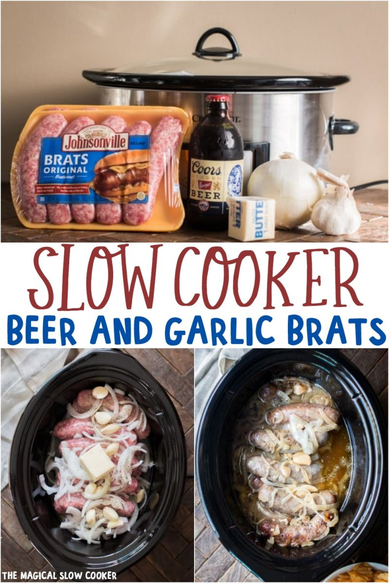 collage of beer and garlic brats for pinterest