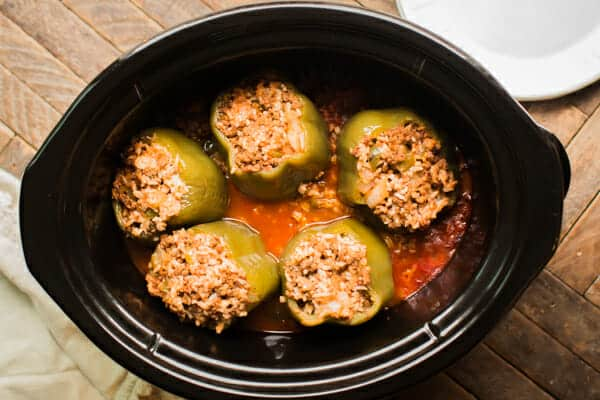 Slow Cooker Beef and Rice Stuffed Peppers