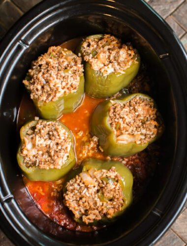 5 meat and rice stuffed peppers in a slow cooker