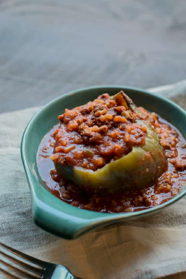 1 stuffed pepper in a bowl