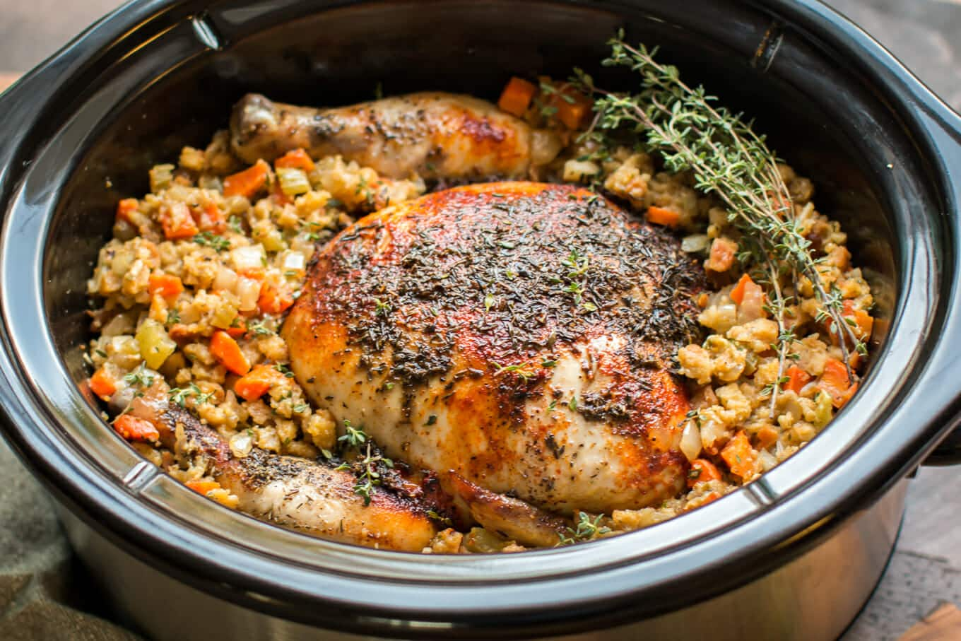 Slow Cooker Whole Chicken with Stuffing