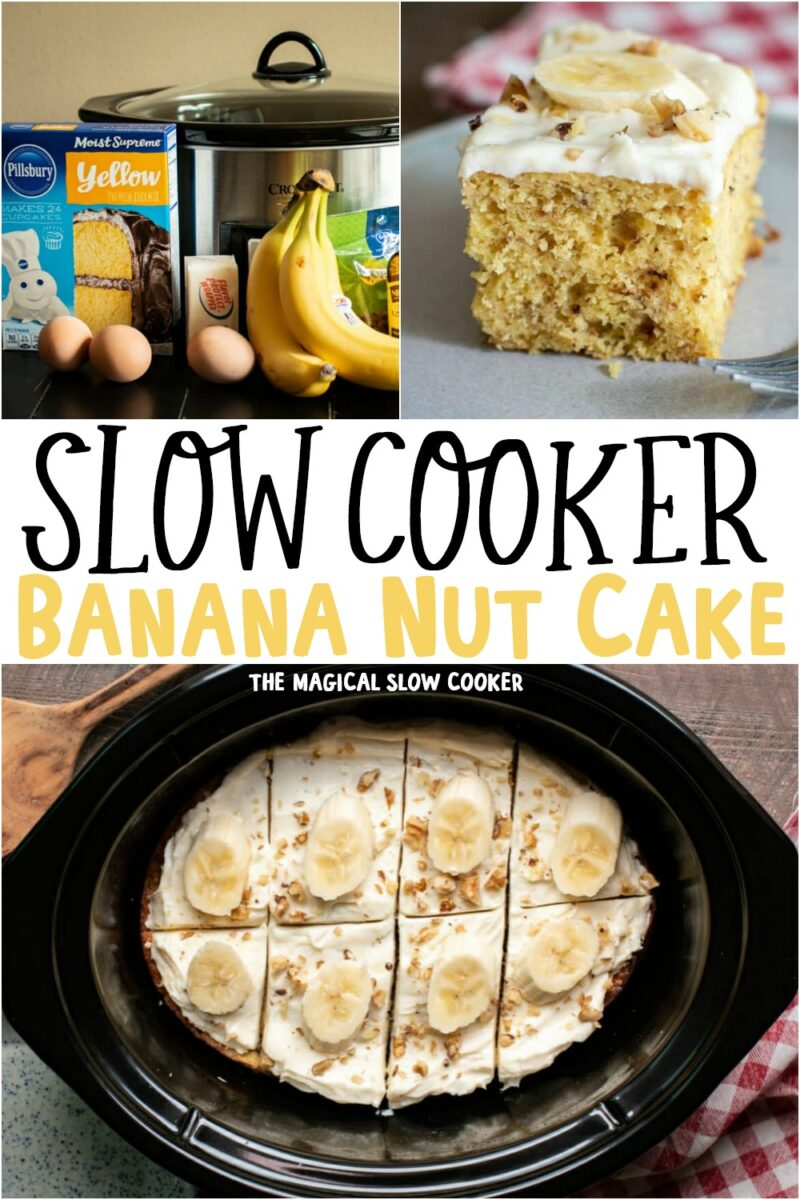collage of photos of banana nut cake with text overlay for pinterest