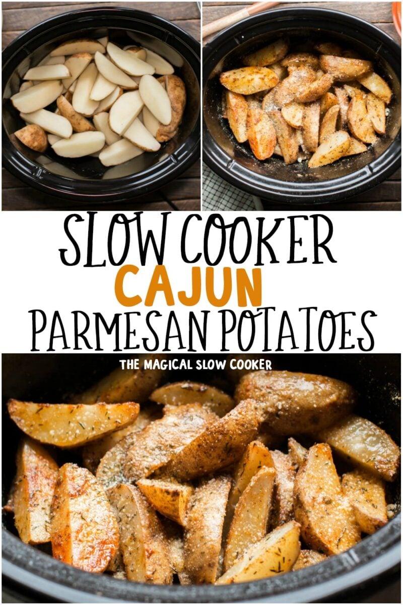 collage of cajun potatoes for pinterest
