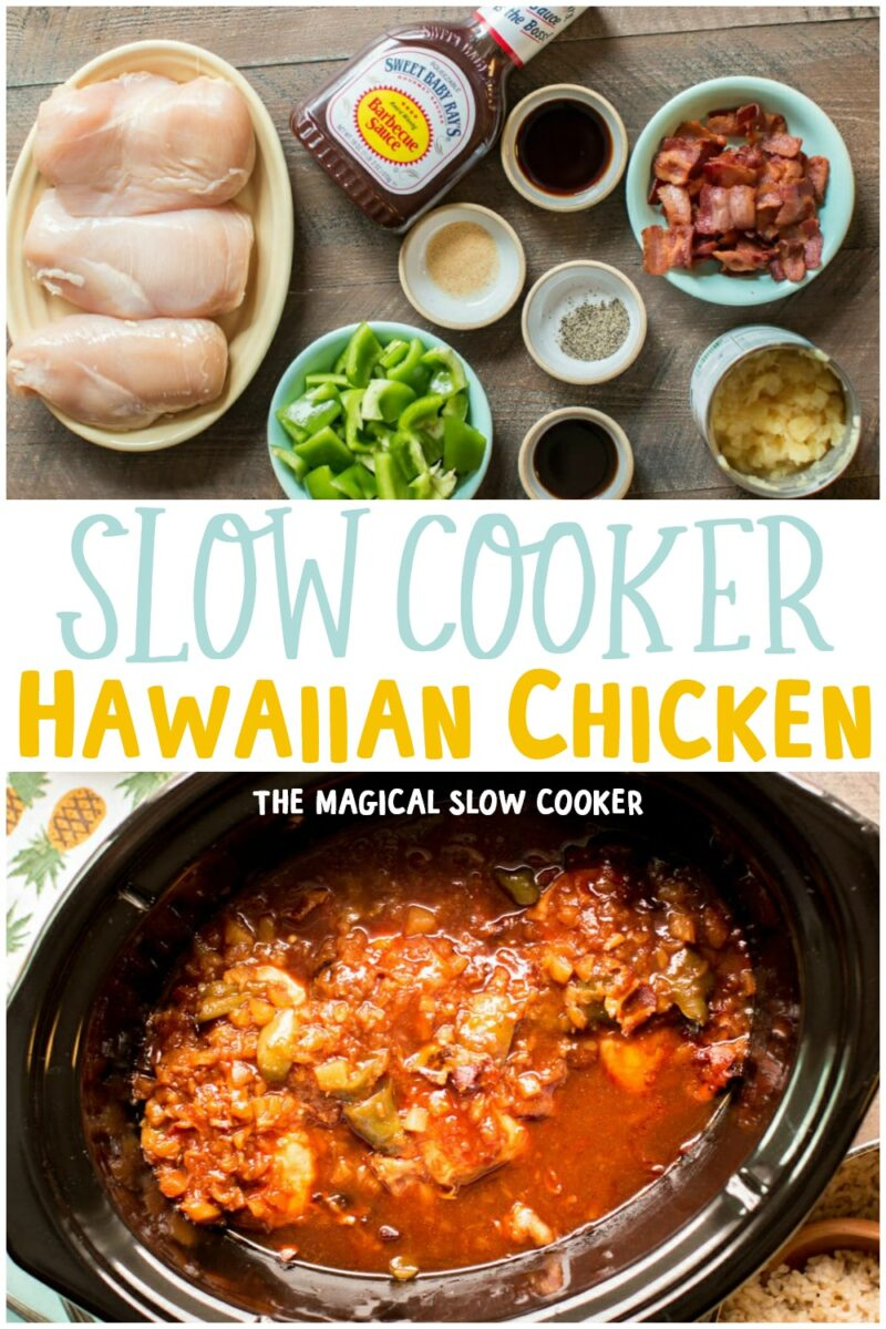 collage of Hawaiian chicken images with text overlay for pinterest
