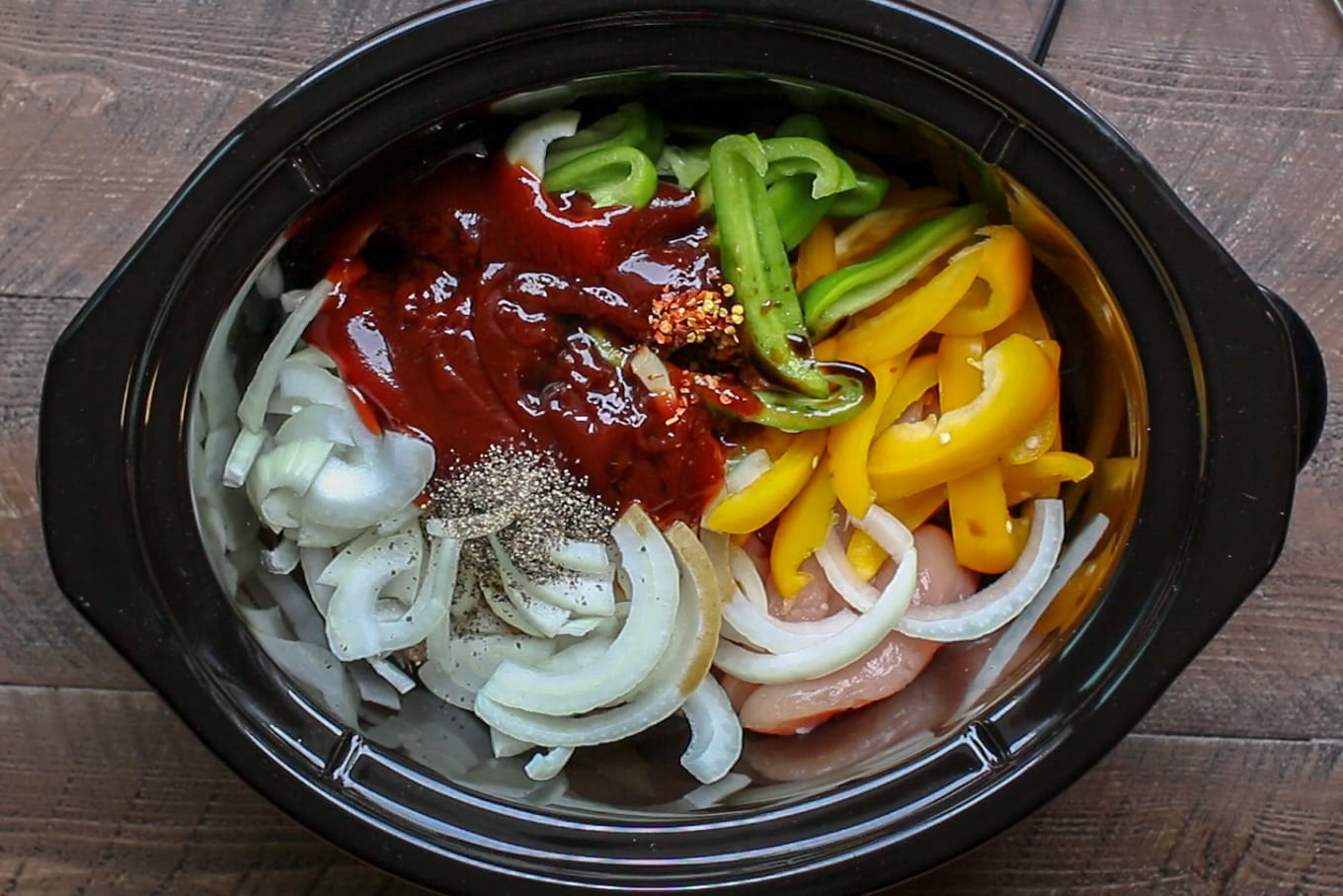 Slow Cooker Barbecue Chicken with Bell Peppers and Onions