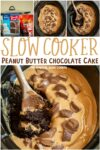 collage of peanut butter chocolate cake for pinterest
