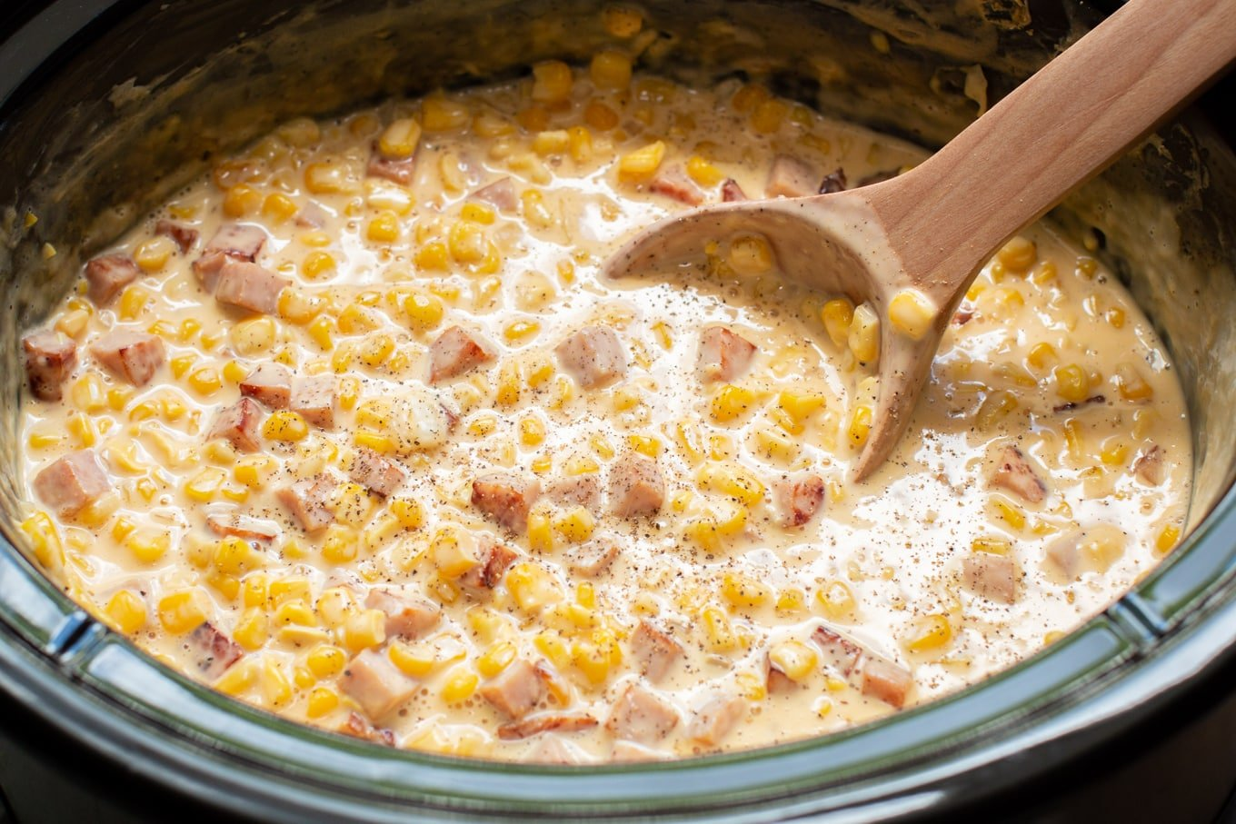 Slow Cooker Ham and Cheese Corn