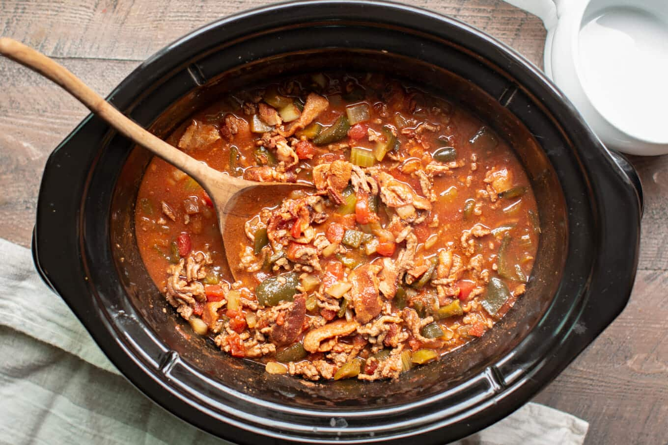 low carb chili done cooking in a slow cooker