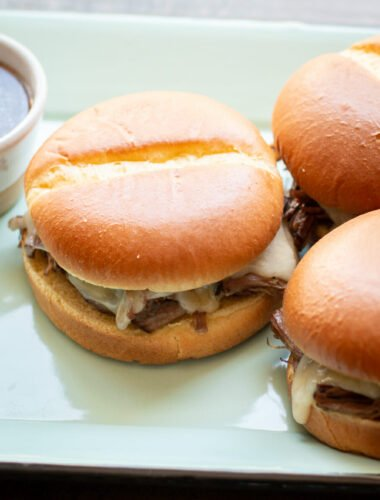 close up of french dip sandwiches.