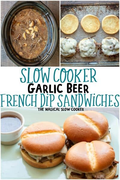 Slow Cooker Garlic Beer French Dips Sanwiches