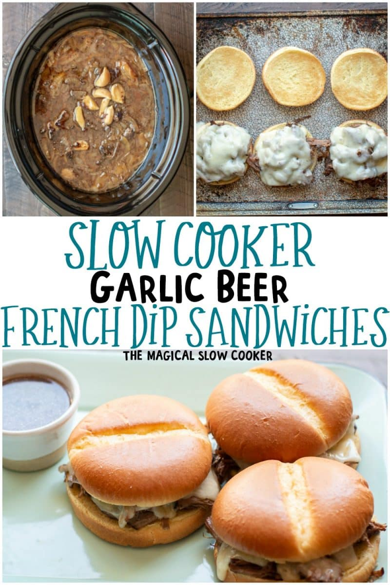 collage of French dip photos for pinterest