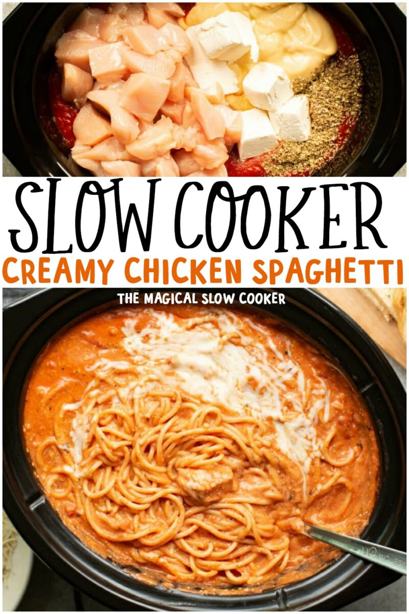 collage of creamy chicken spaghetti images for pinterest