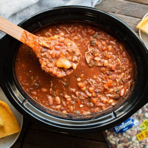 cajun 15 bean soup in a slow cooker