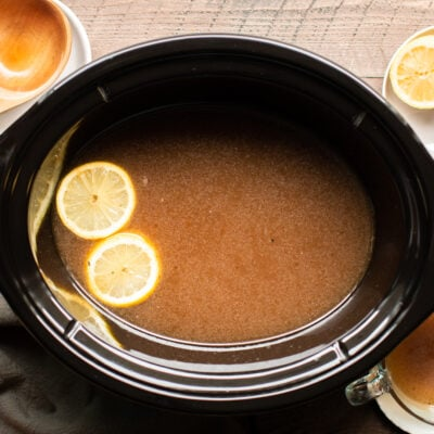 finsihed cooked beef bone broth in the slow cooker.