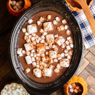 slow cooker full of pumpkin hot chocolate