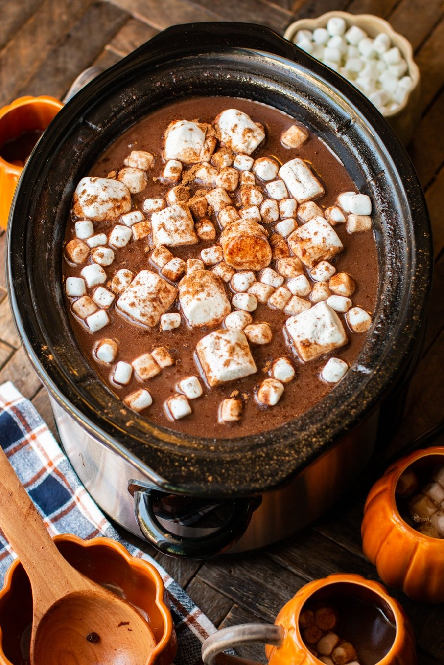 close up of pumpkin hot chocolate in the slow cooker.