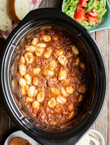 shredded beef in marinara with gnocchi in slow cooker