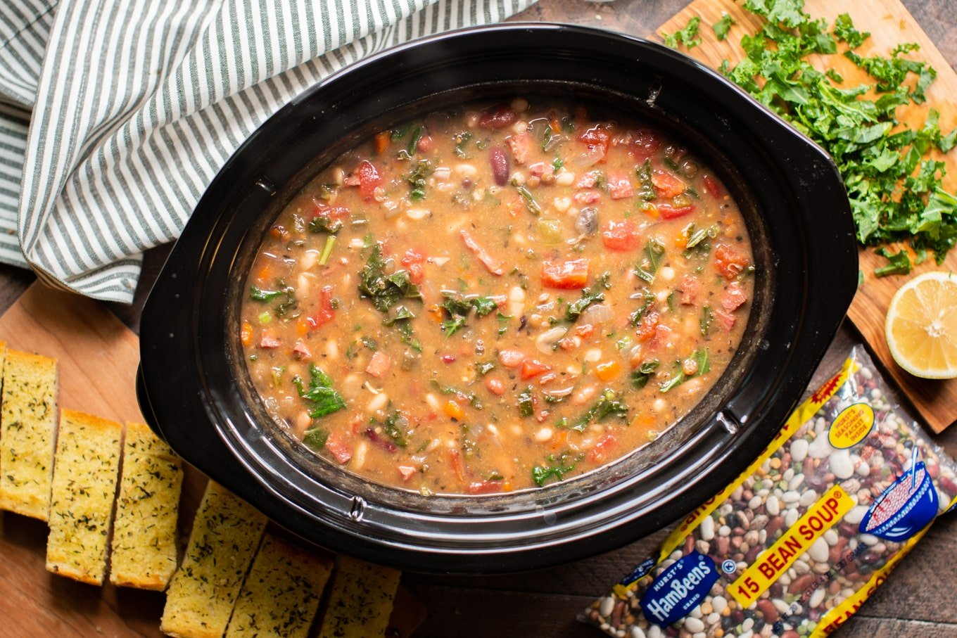 Slow Cooker 15 Bean Soup with Ham