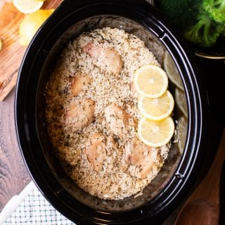 Slow Cooker Lemon Pepper Chicken and Rice