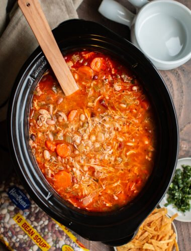 15 bean soup with chicken and buffalo sauce in a slow cooker.