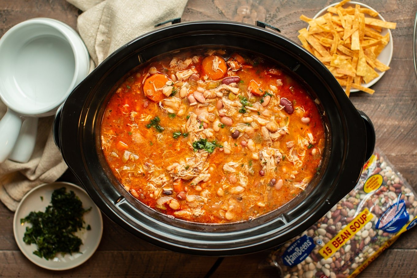 Slow Cooker 15 Bean Buffalo Chicken Soup