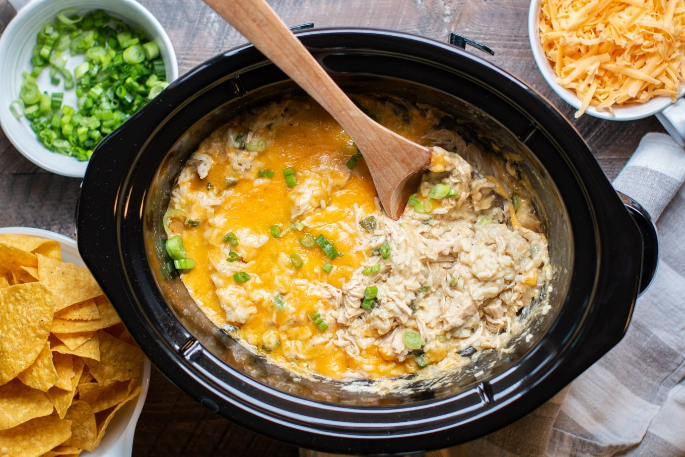 Slow Cooker Green Chile Chicken and Rice Casserole