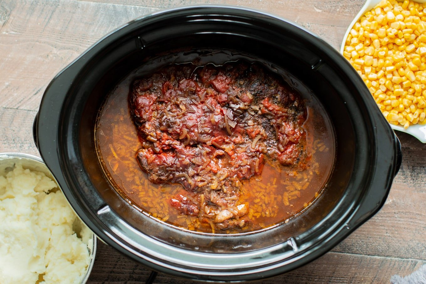 Slow Cooker Beer, Onion and Ketchup Chuck Roast