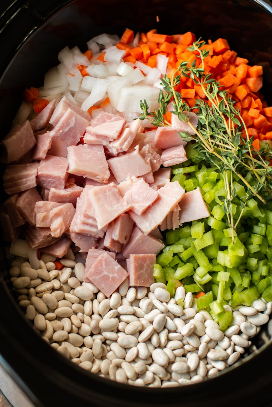 Ingredients for ham and beans in crock pot raw.
