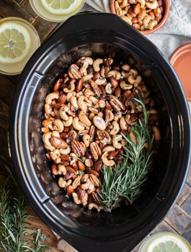 mixed bar nuts in the slow cooker with lemon drop martinis on the side.
