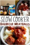 collage of meatball photos with text overlay that says: Slow Cooker Barbecue Meatballs